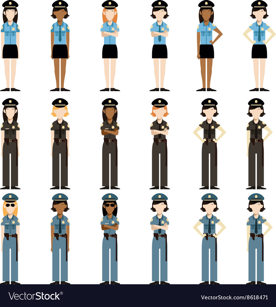 Set of police women