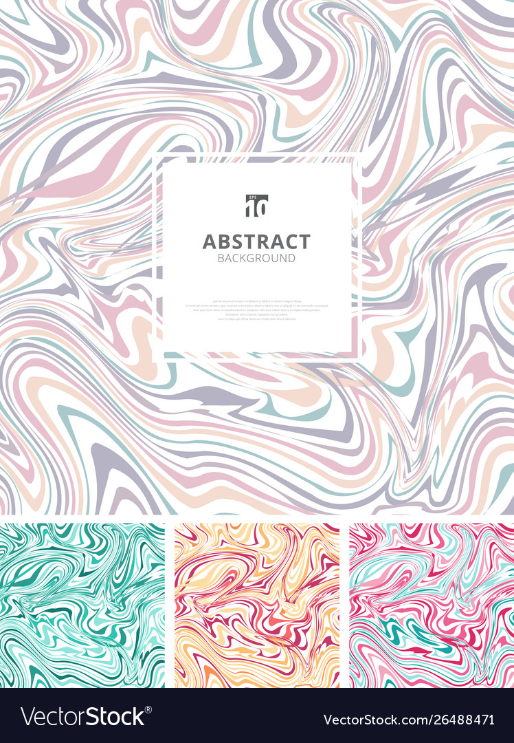 Set template abstract hand drawn ink wavy