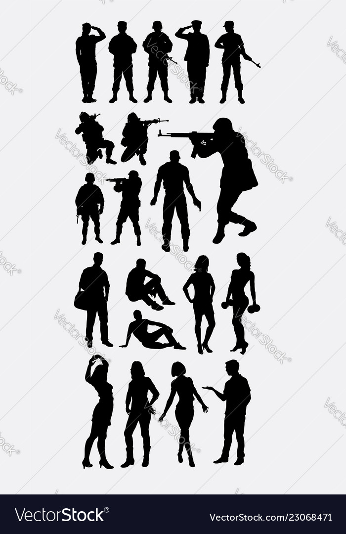 Soldier people activity silhouettes