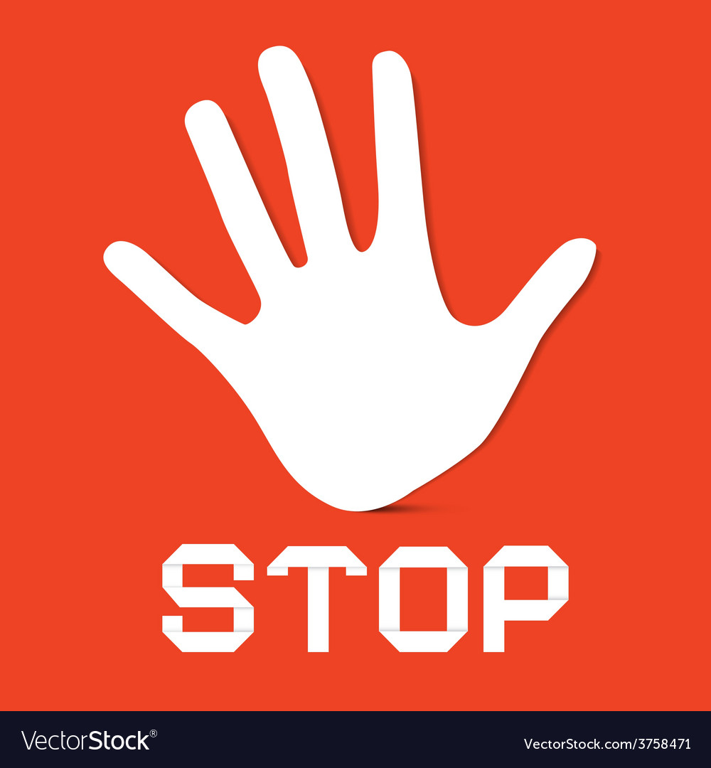 Stop Palm Hand on Red Background