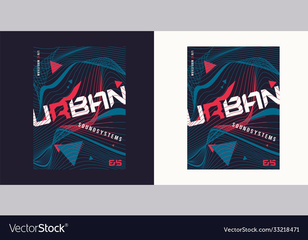 Urban waves expressive geometric t-shirt