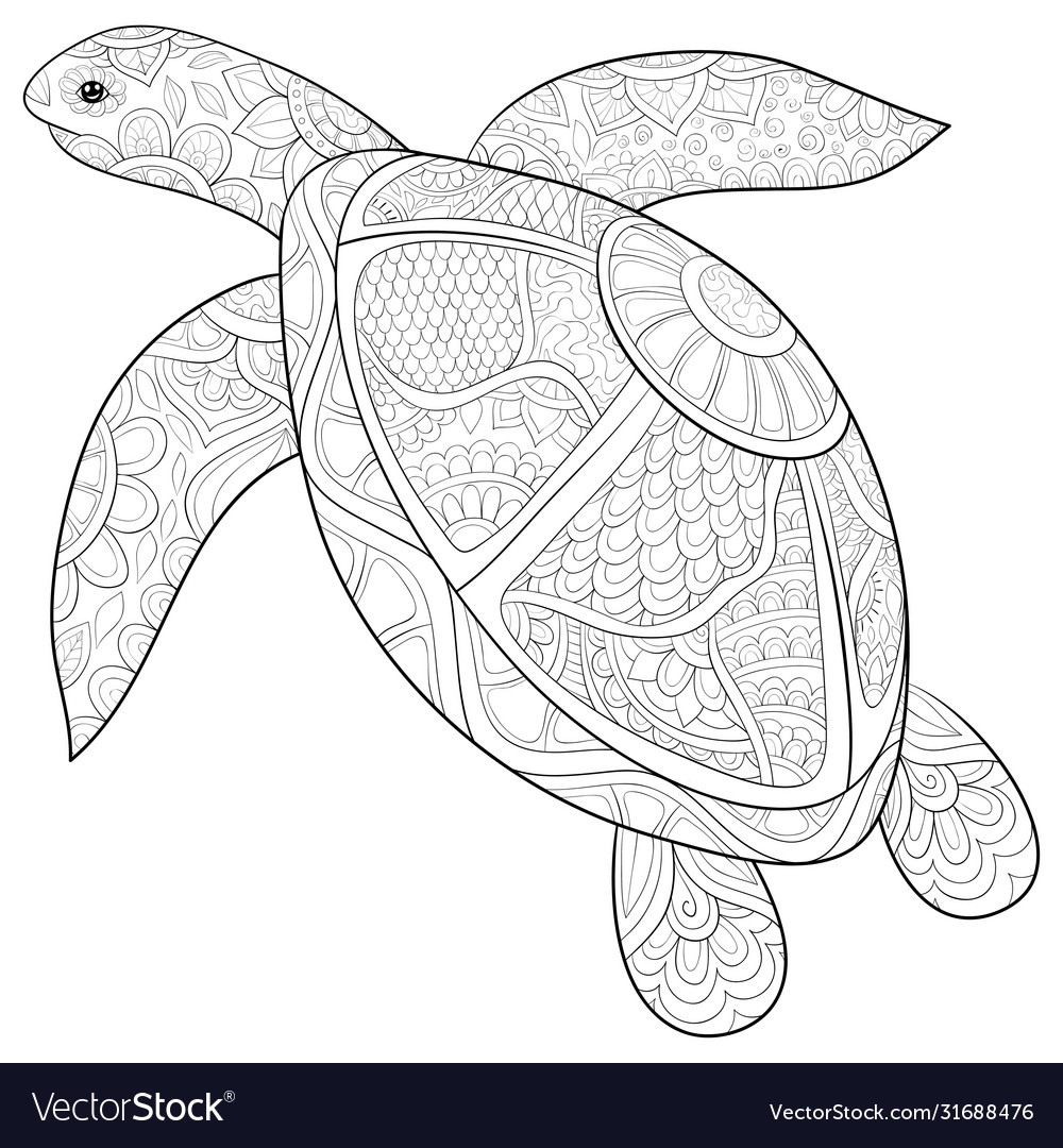 Adult coloring bookpage a turtle with ornaments Vector Image