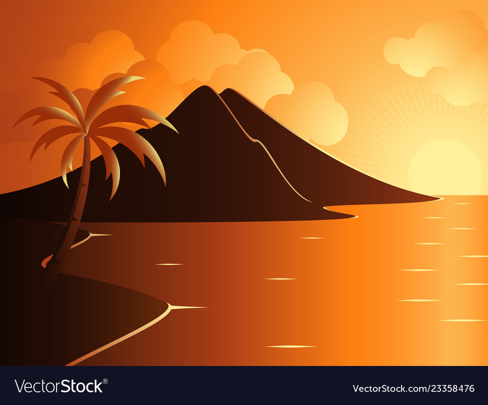 Beautiful calm beach with mountain during sunset