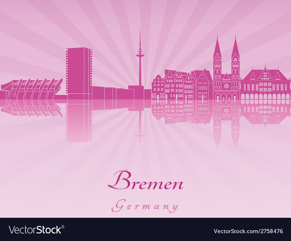 Bremen skyline in radiant orchid