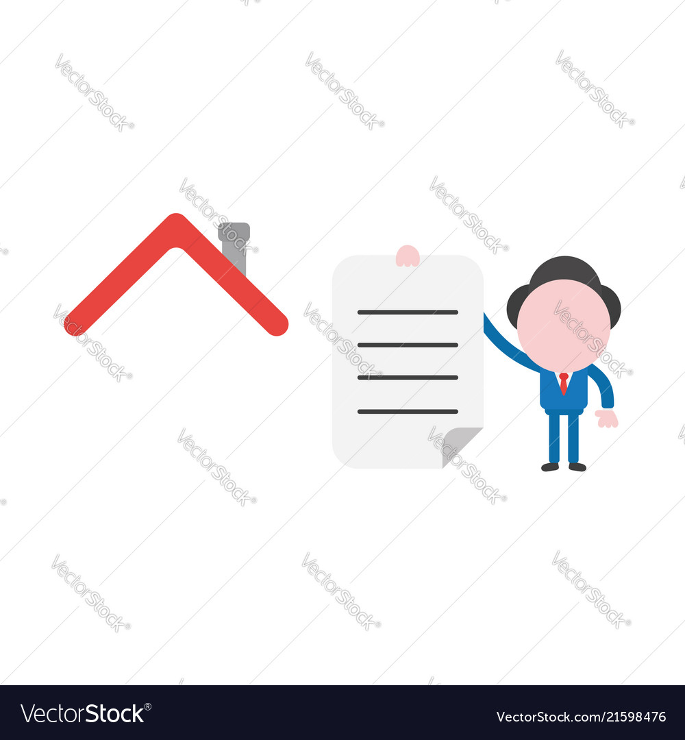 Businessman with house roof and holding written