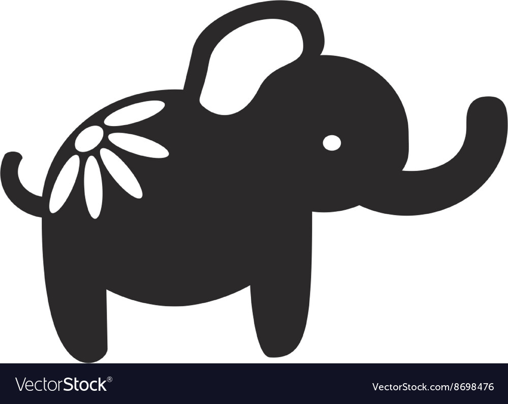 Cute elephant papercutting style silhouette