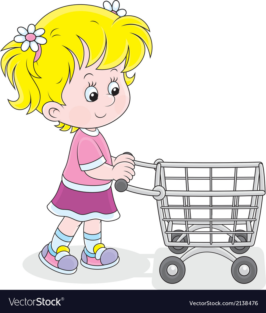 Girl With A Shopping Trolley Royalty Free Vector Image