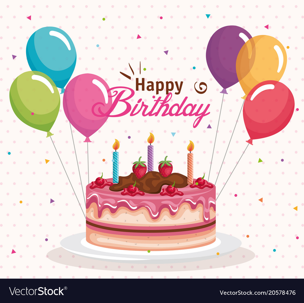 Superb Happy Birthday Cake With Balloons Air Celebration Vector Image Personalised Birthday Cards Veneteletsinfo