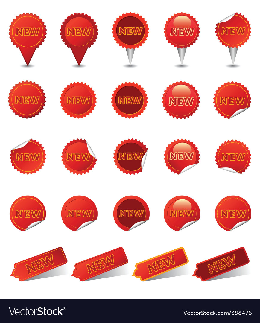 New badges | red vector image