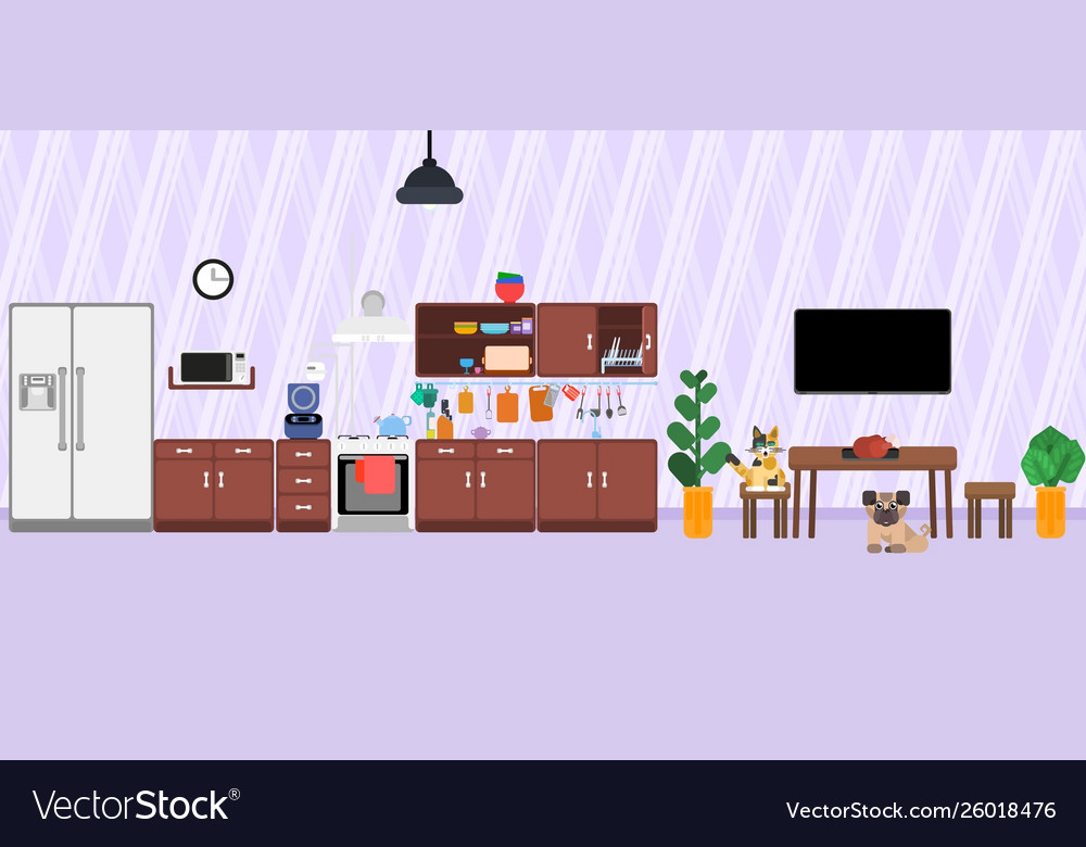 Purple Kitchen Interior With A Cat And A Dog Vector Image