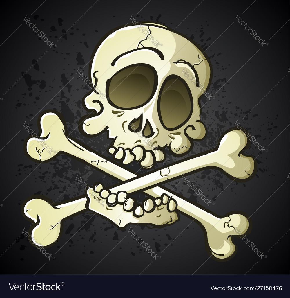 Skull and crossbones jolly roger cartoon character