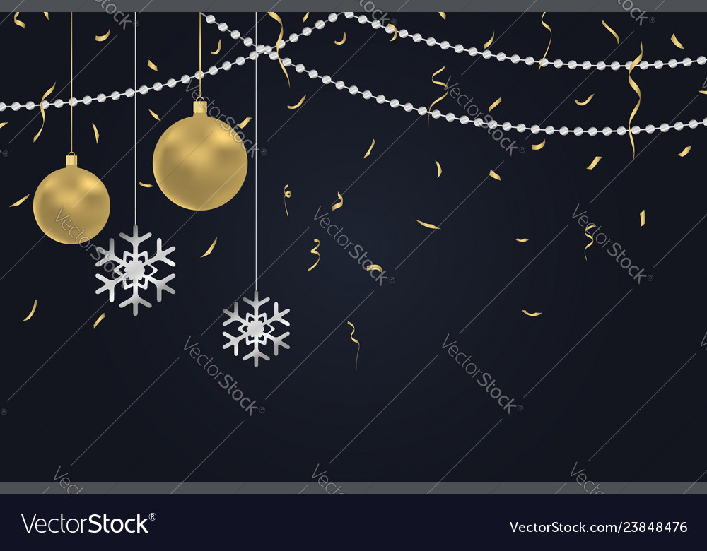 Xmas background with gold and silver decoration