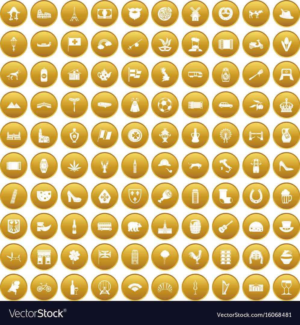 100 europe icons set gold