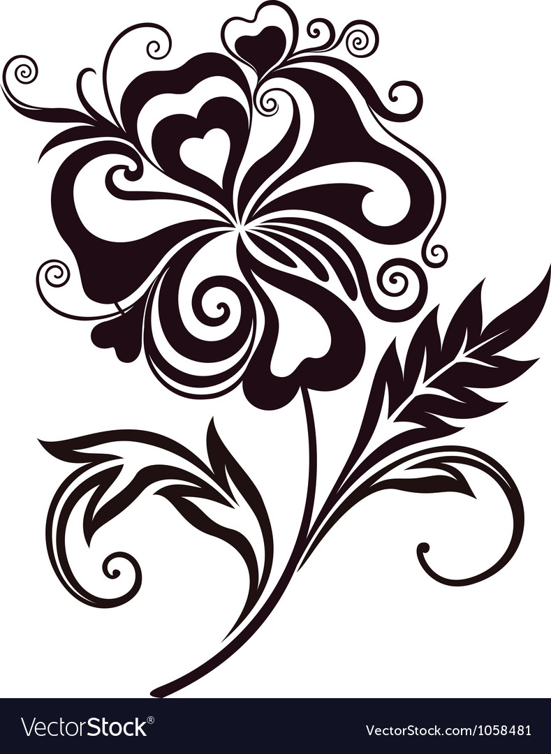 Abstract flower line-art vector image