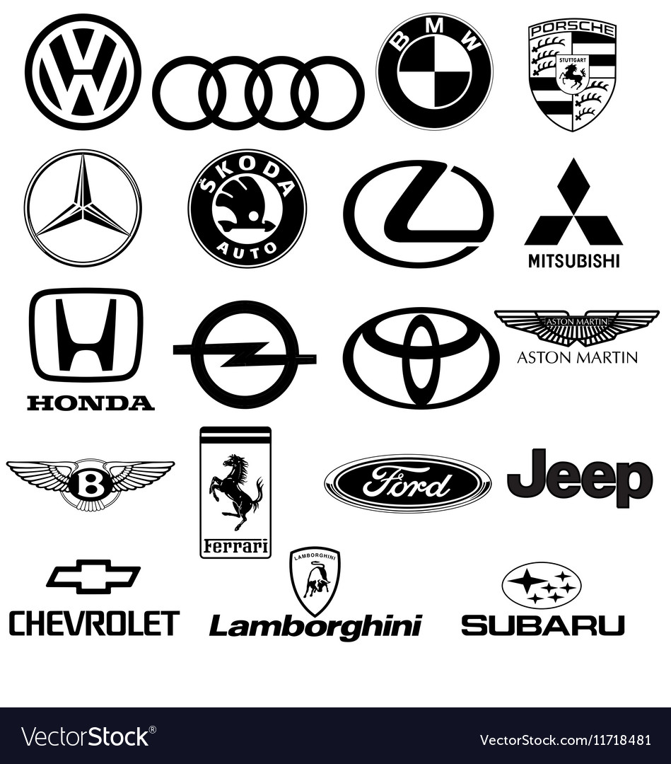 Black White Car Logos Royalty Free Vector Image