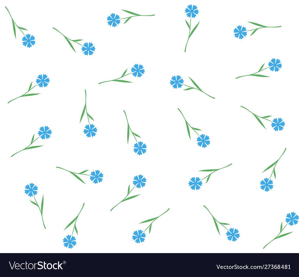 Blue flowers seamless pattern cornflowers or flax