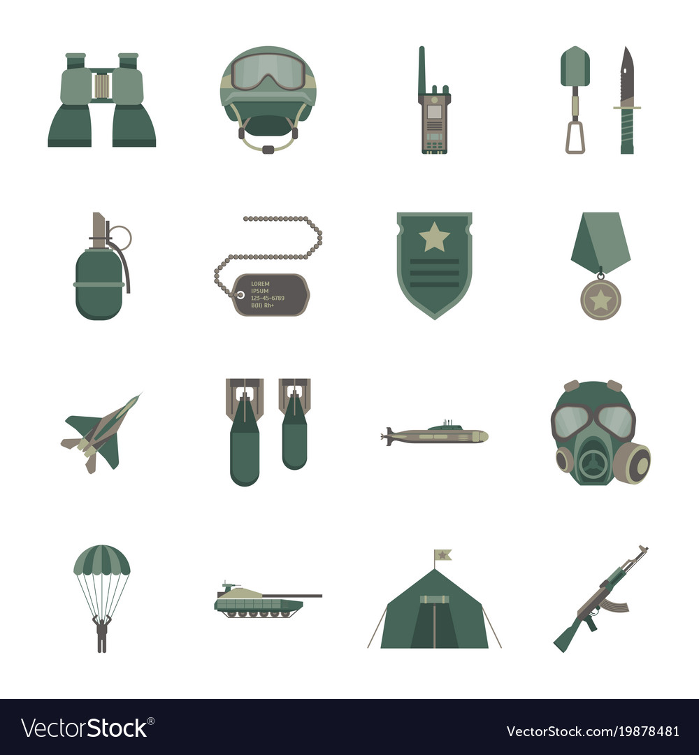 Cartoon color army weapons icons set