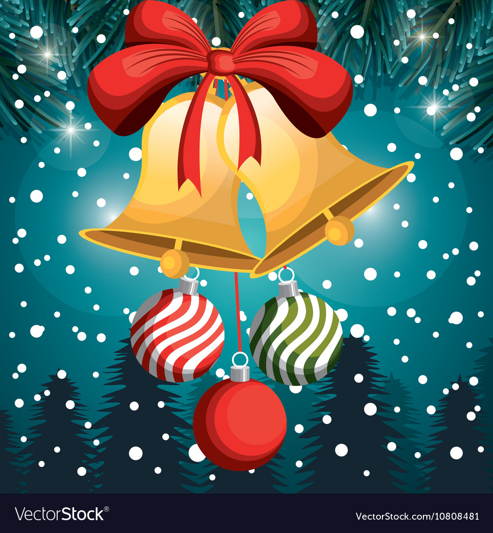 Christmas card bell and balls red bow snowfall and