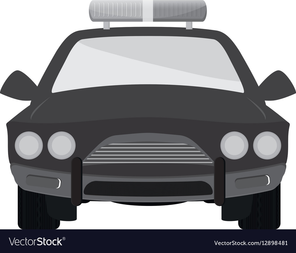 Grayscale car police icon image vector image
