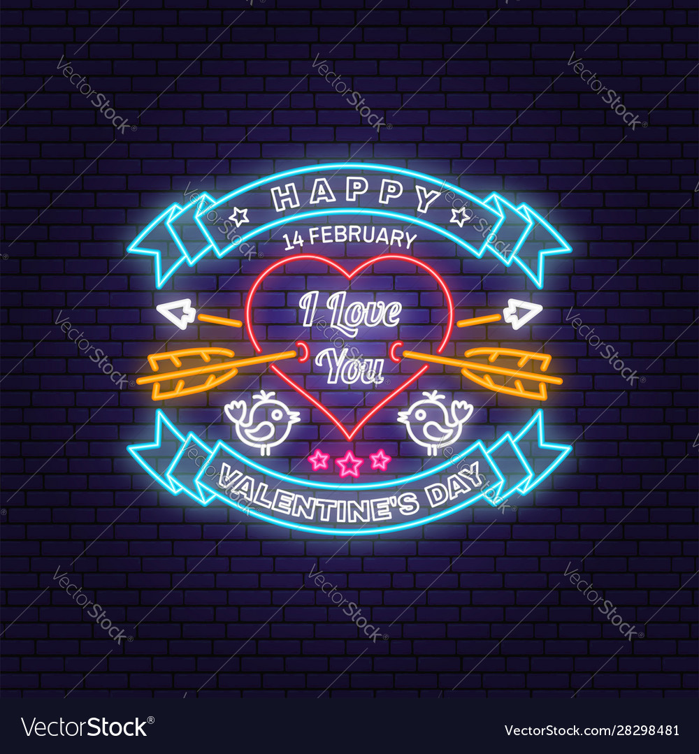 Happy valentines day neon greetings card flyers