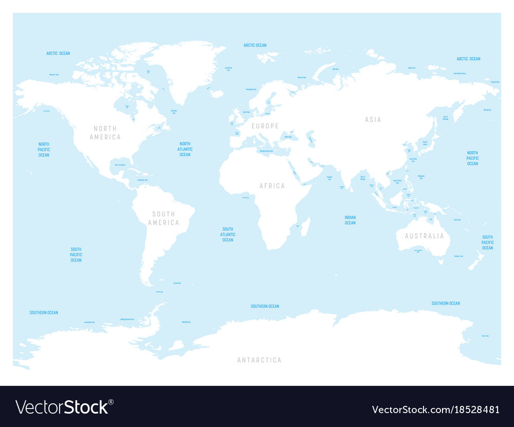 High Detailed World Map With Labels Of Main Vector Image