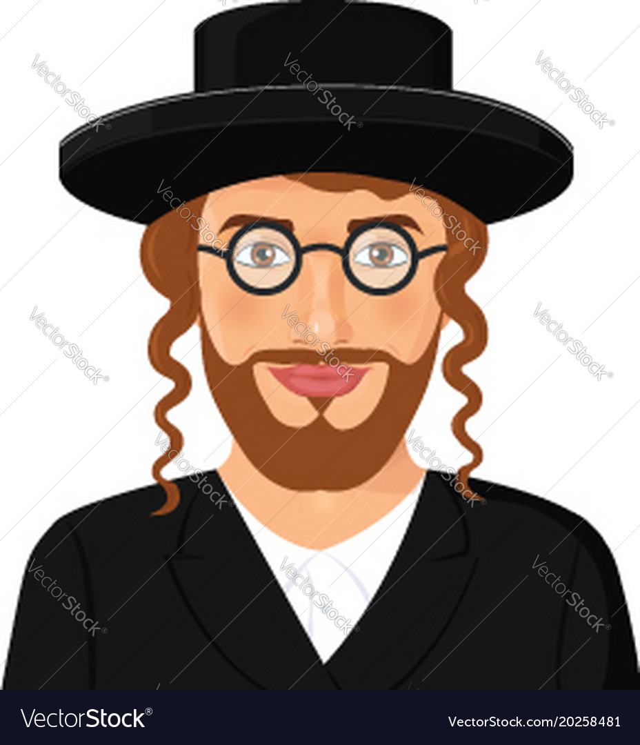 e5abe92faa1 Jewish man face portrait with hat and beard Vector Image