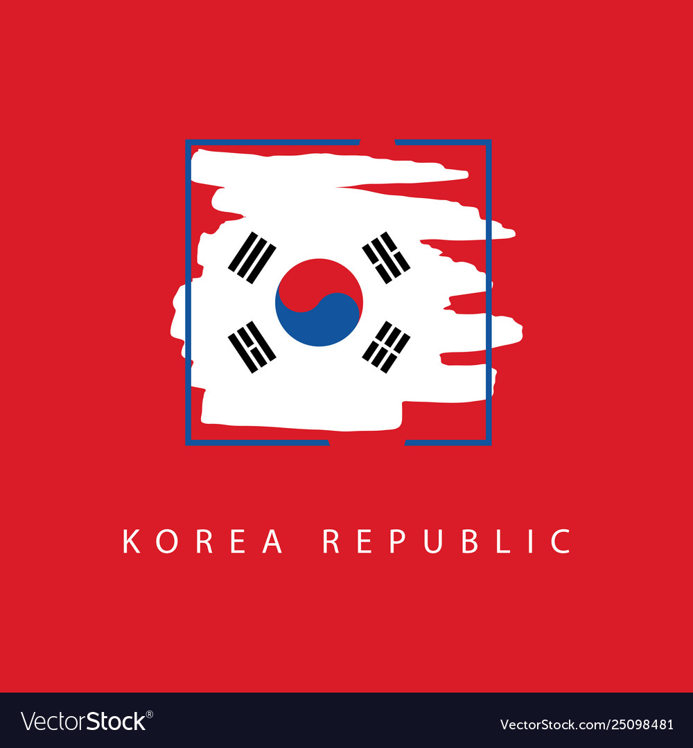Korea republic brush logo template design
