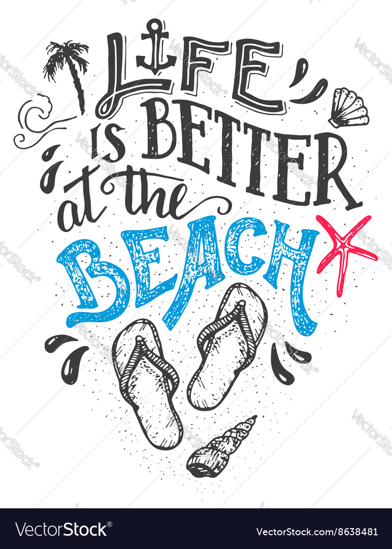 Life is better at beach hand-lettering card