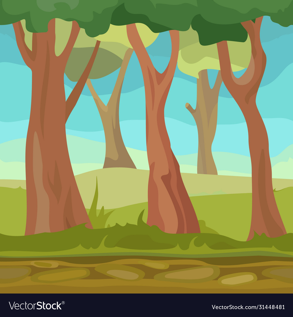 Natural seamless forest for game or app cartoon