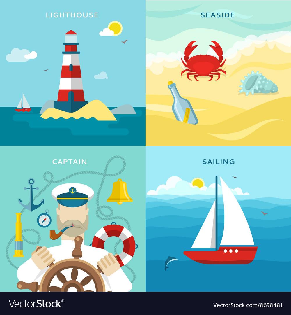 Nautical Colored Icon Set