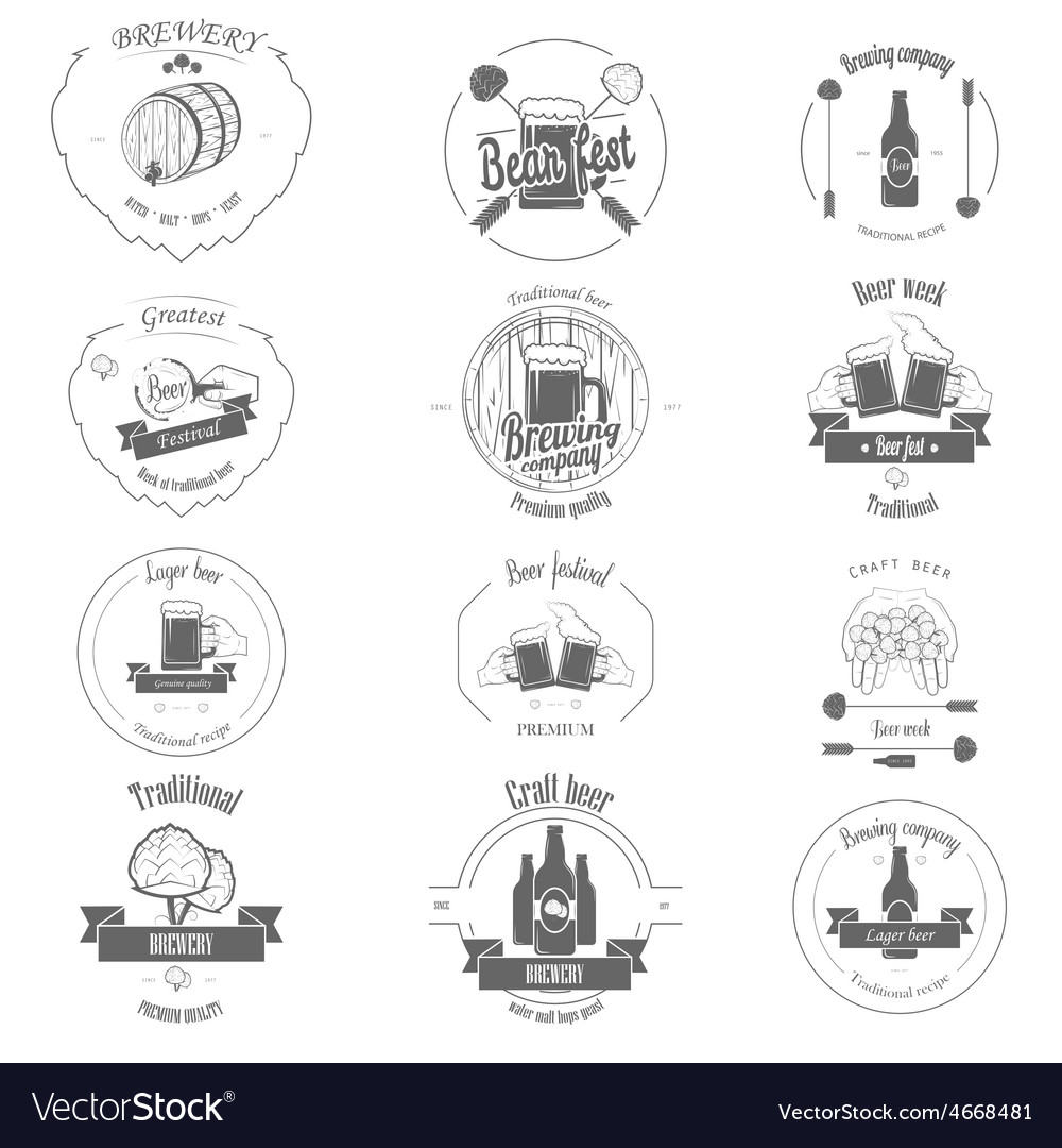 Set of Two-color Beer Craft Badges vector image