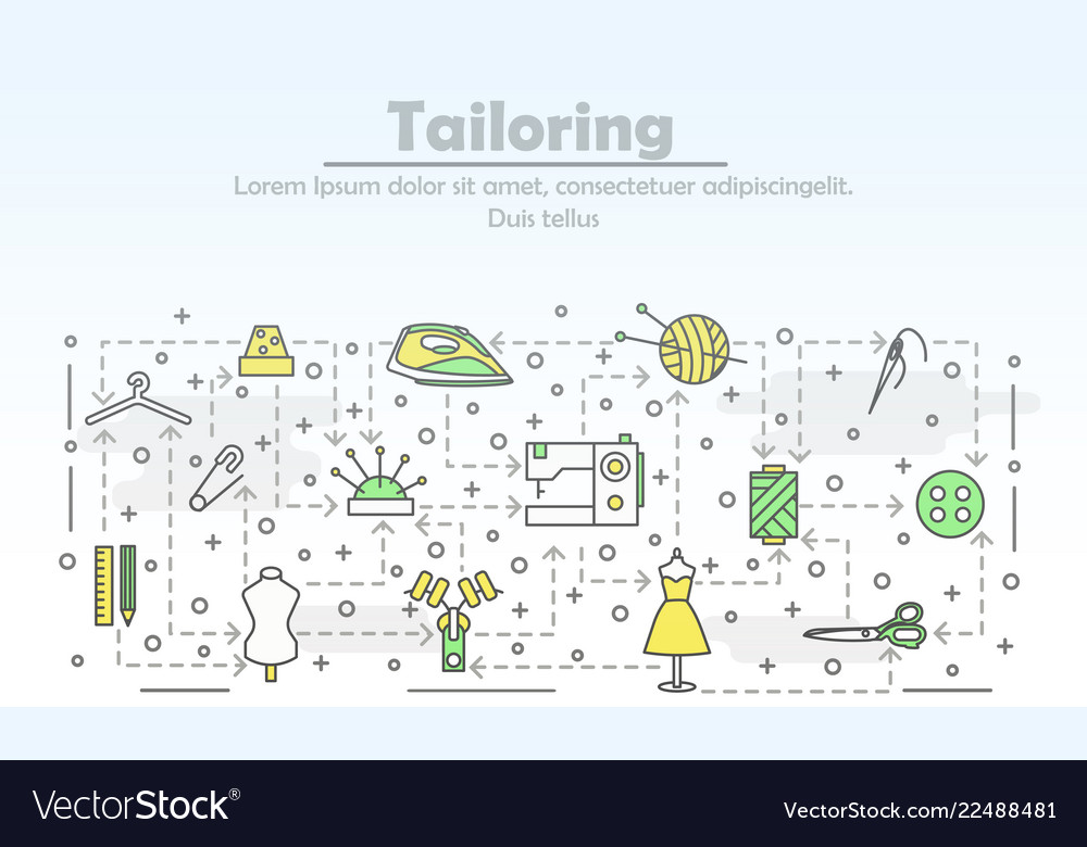 Thin line art tailoring poster banner