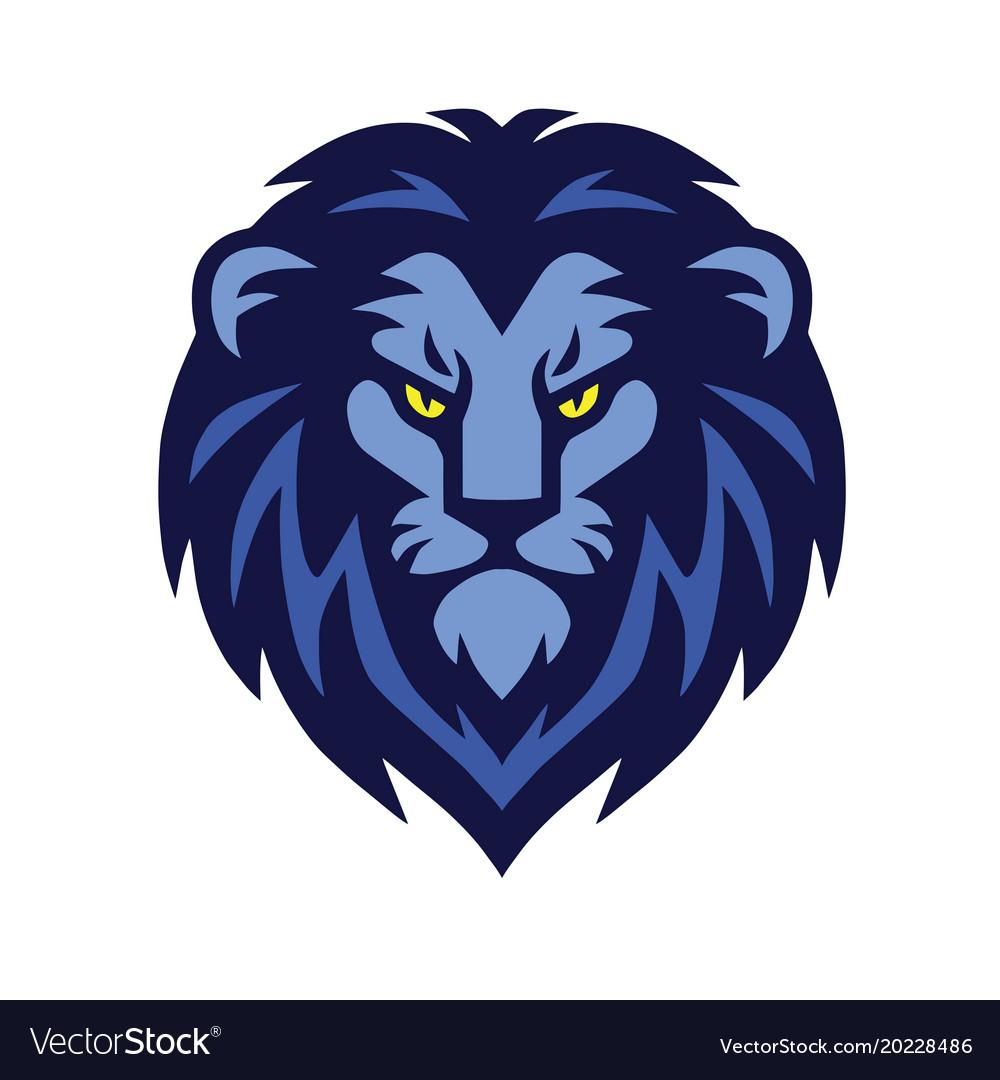blue lion head logo design royalty free vector image