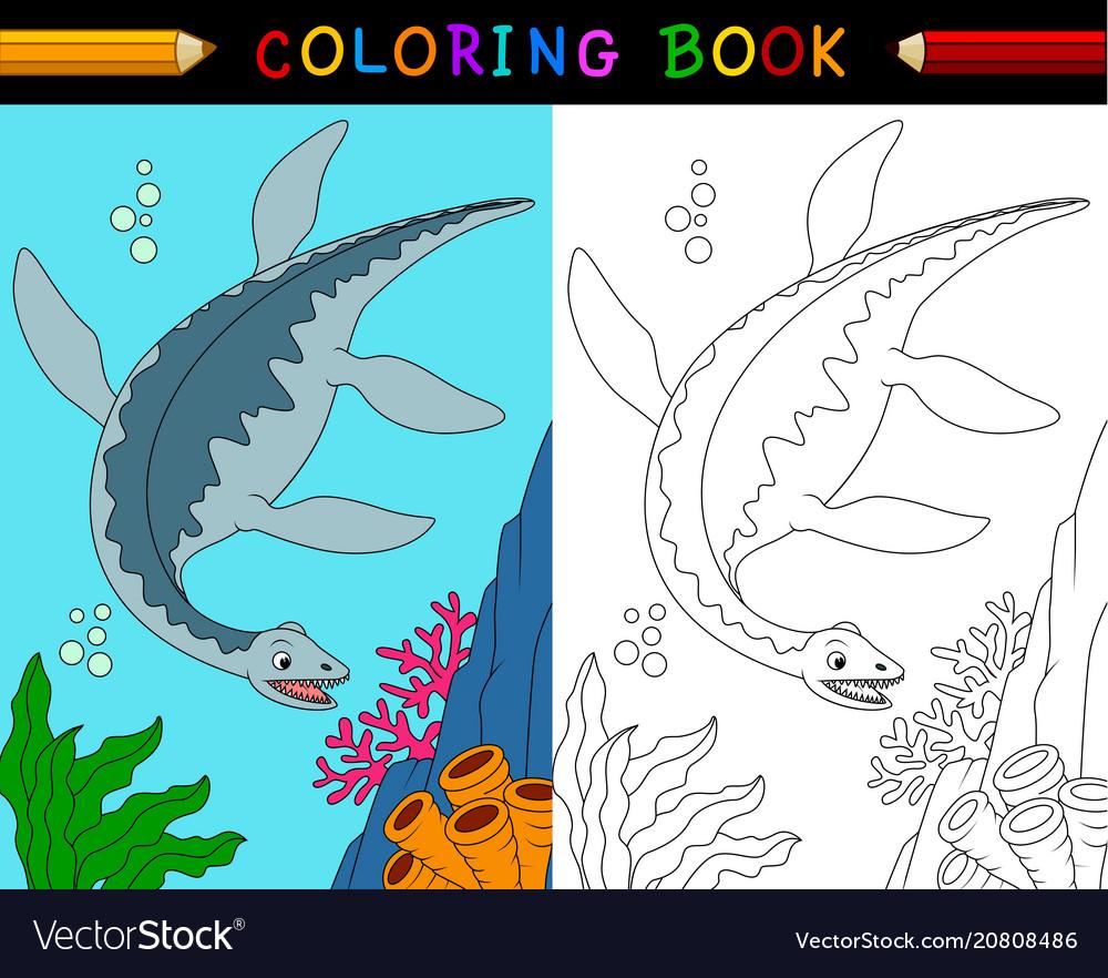 Cartoon plesiosaurus coloring book