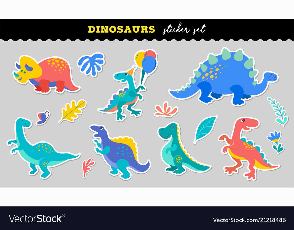 Cute dinosaurs sticker collection different types