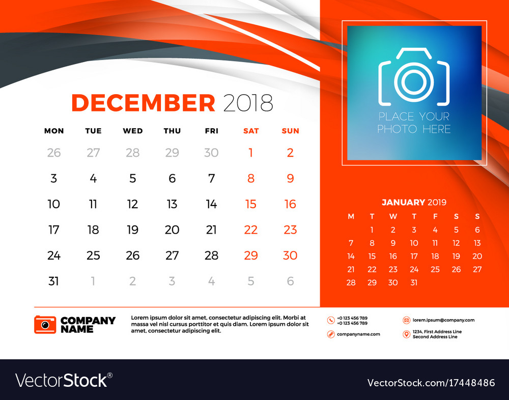 december 2018 desk calendar design template with vector image