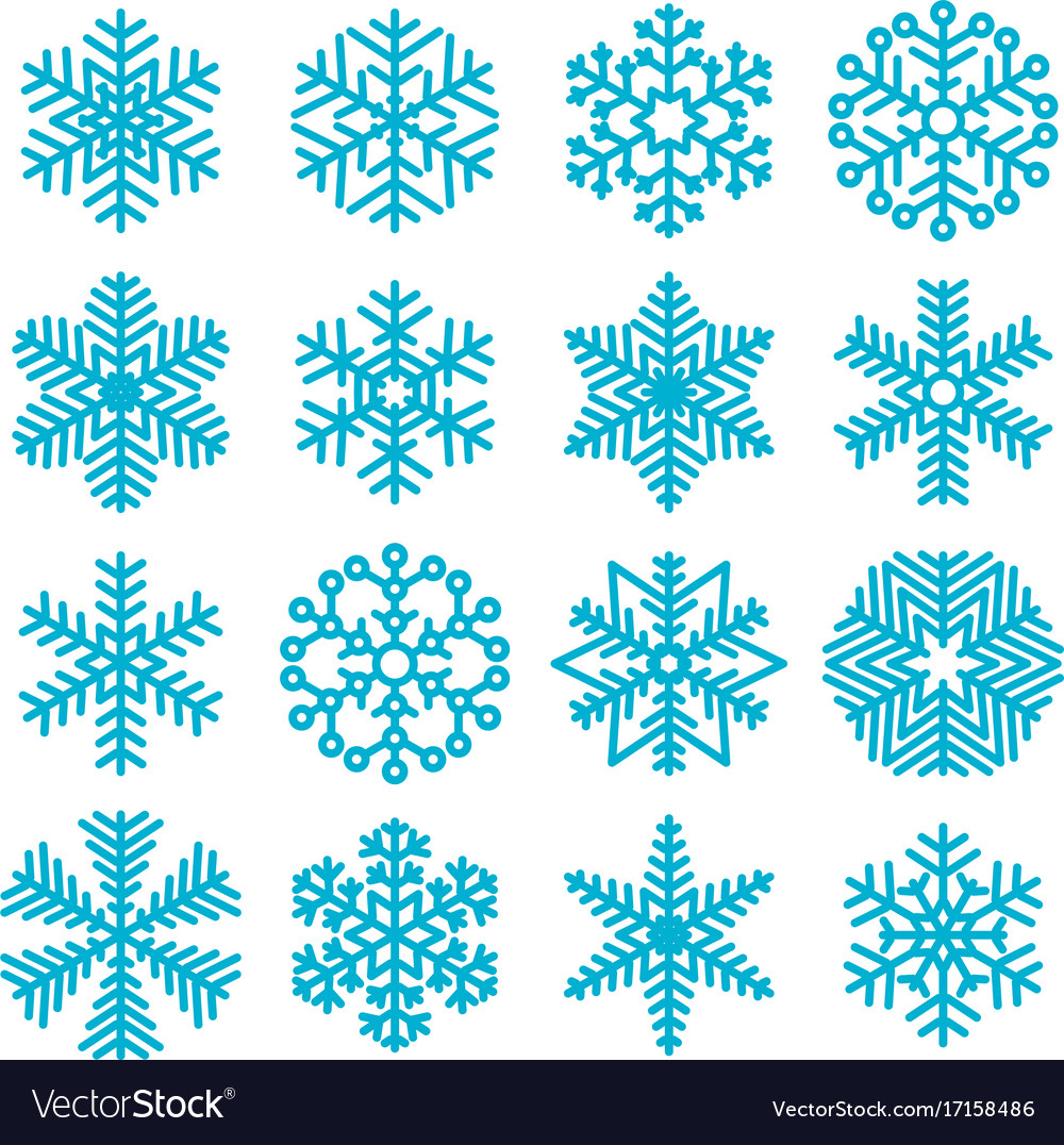 flat design christmas snowflakes royalty free vector image