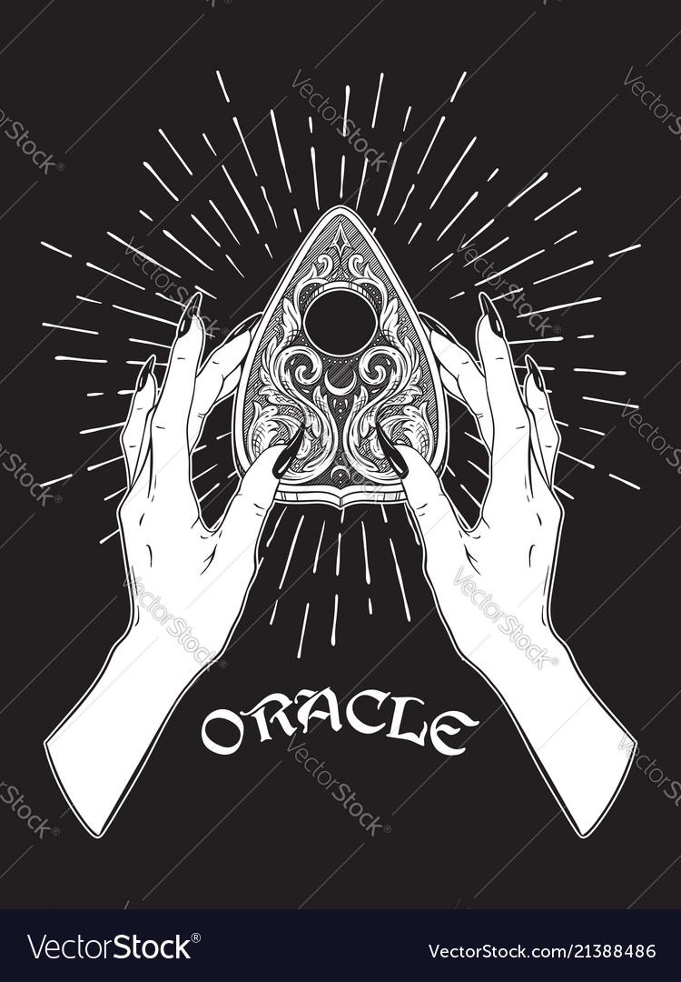 Hand drawn spirit board oracle planchette