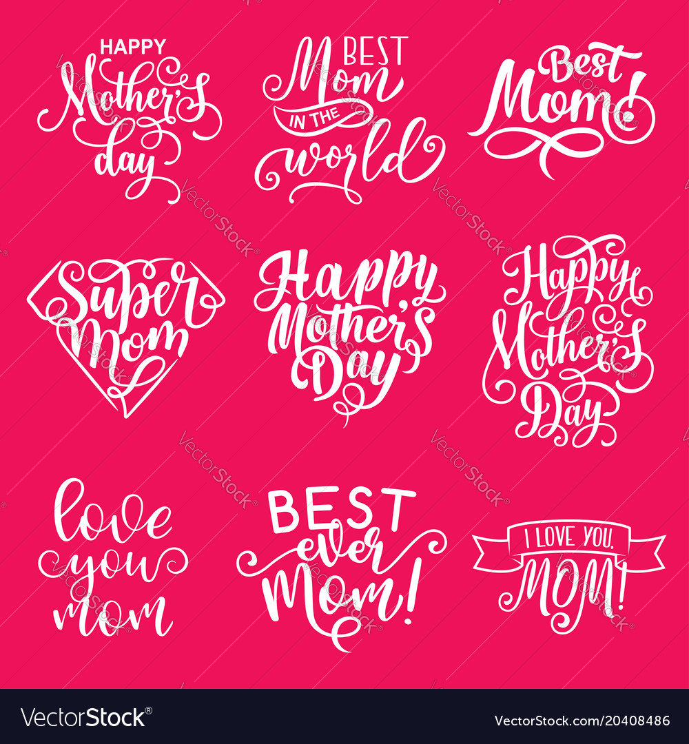Happy Mother Day Lettering Greeting Card Design Vector Image