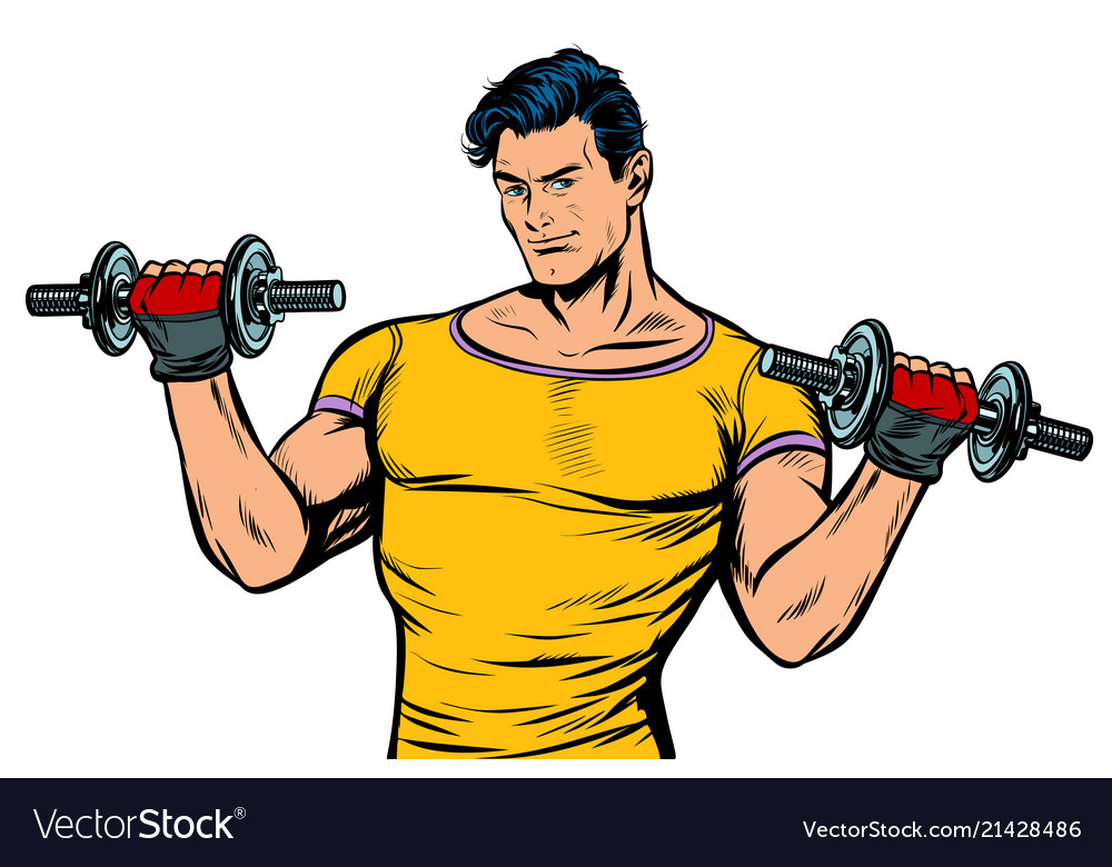 Man with dumbbells isolate on white background