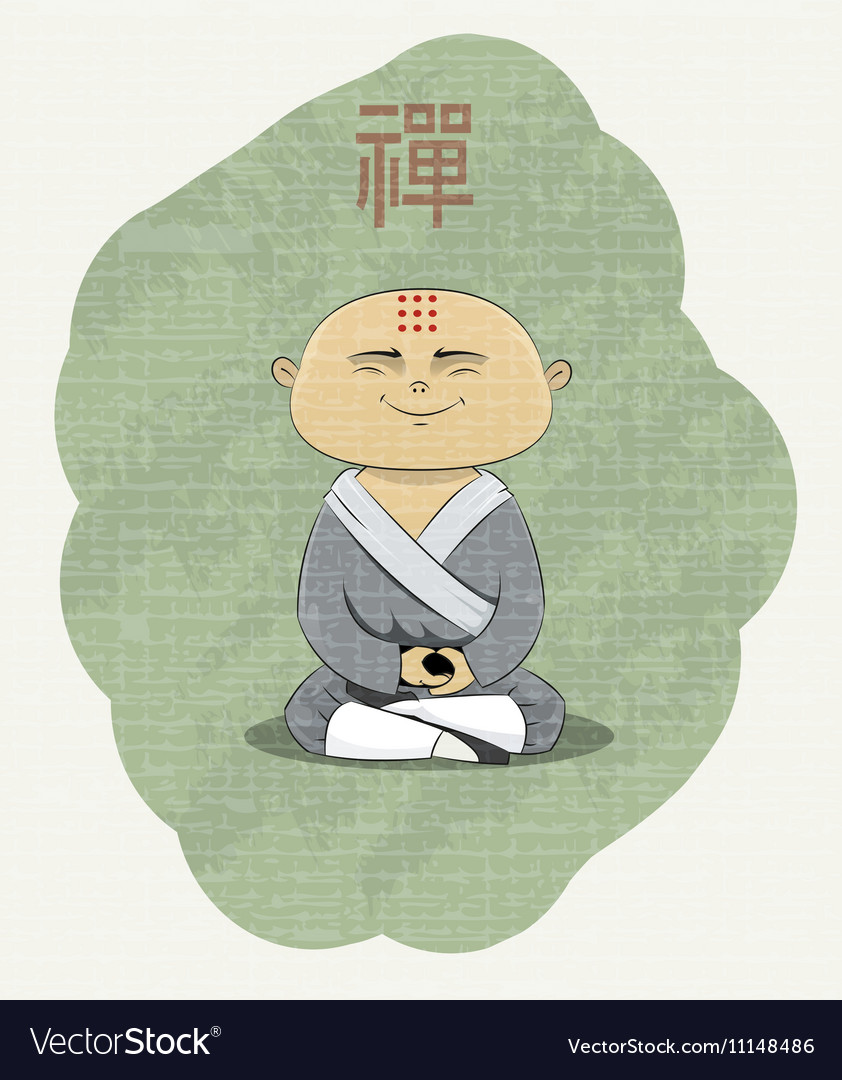 Meditating Buddhist monk vector image