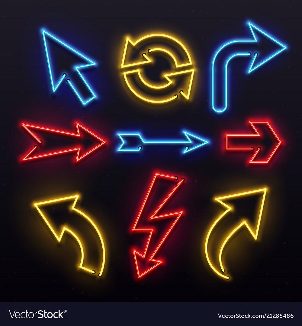 Neon light arrows colorful bulb lines arrow