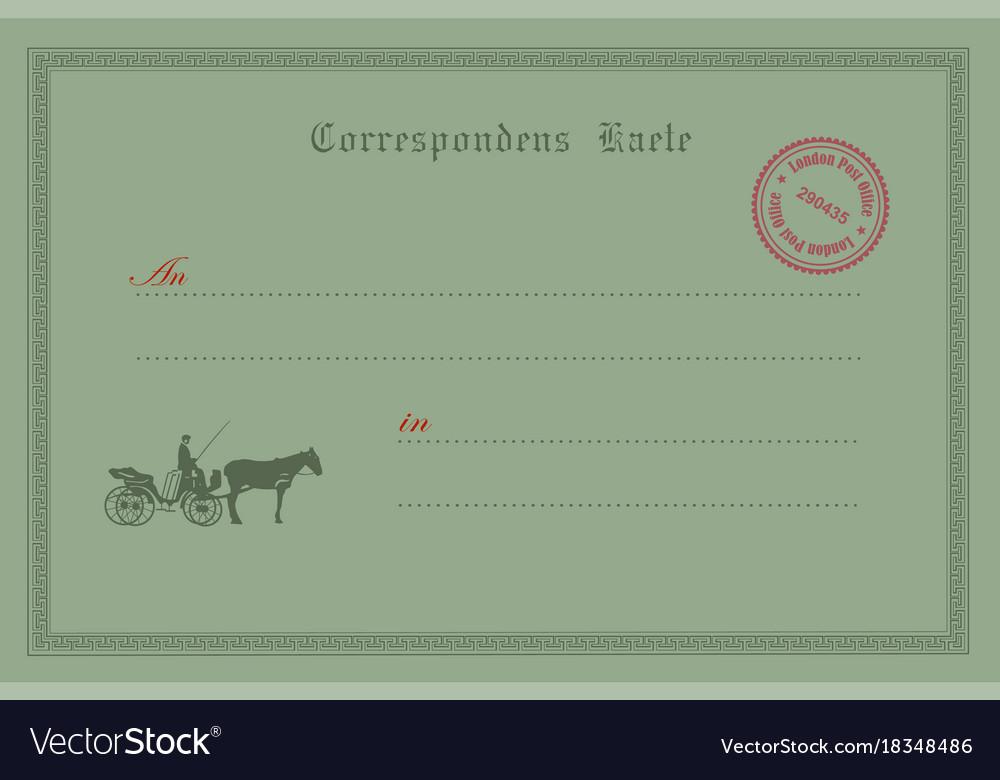 Old postcard vector image