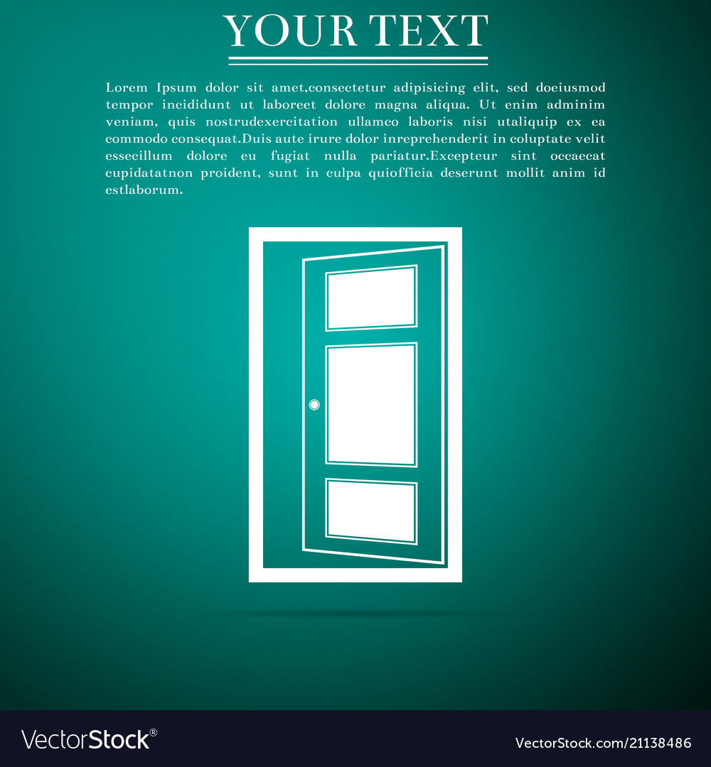 Open door icon isolated on green background