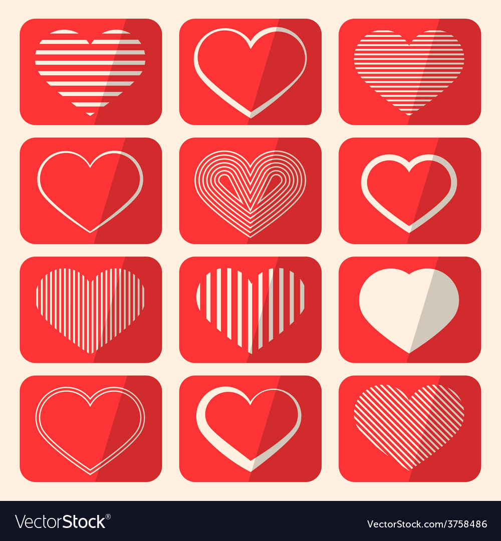 Retro Hearts Set on Red Rounded Squares