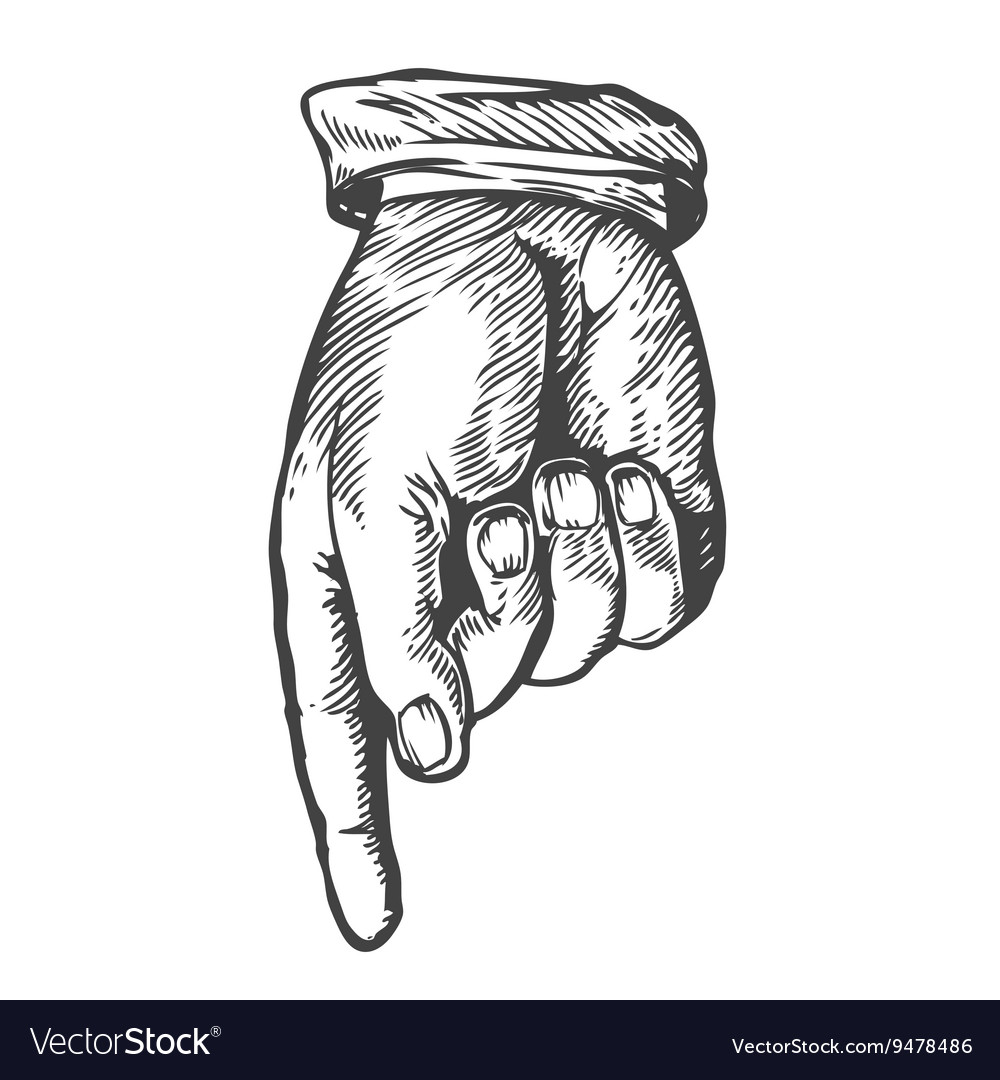 sketch of a hand pointing down royalty free vector image vectorstock