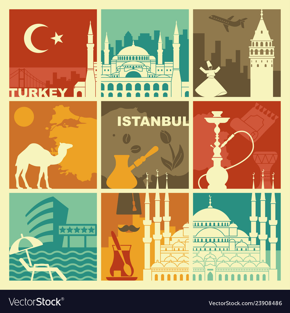 Traditional symbols of turkey and istanbul