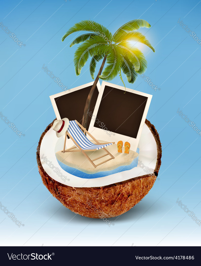 Vacation concept Palm tree photos and beach chair