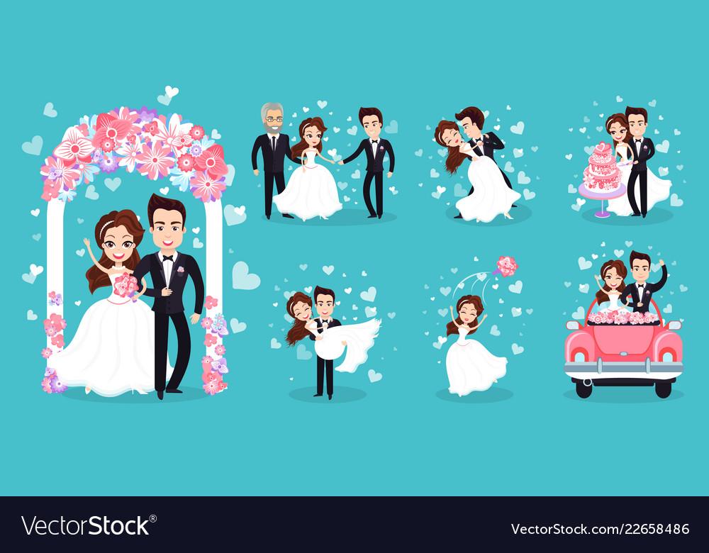 Wedding couple isolated on bright blue background