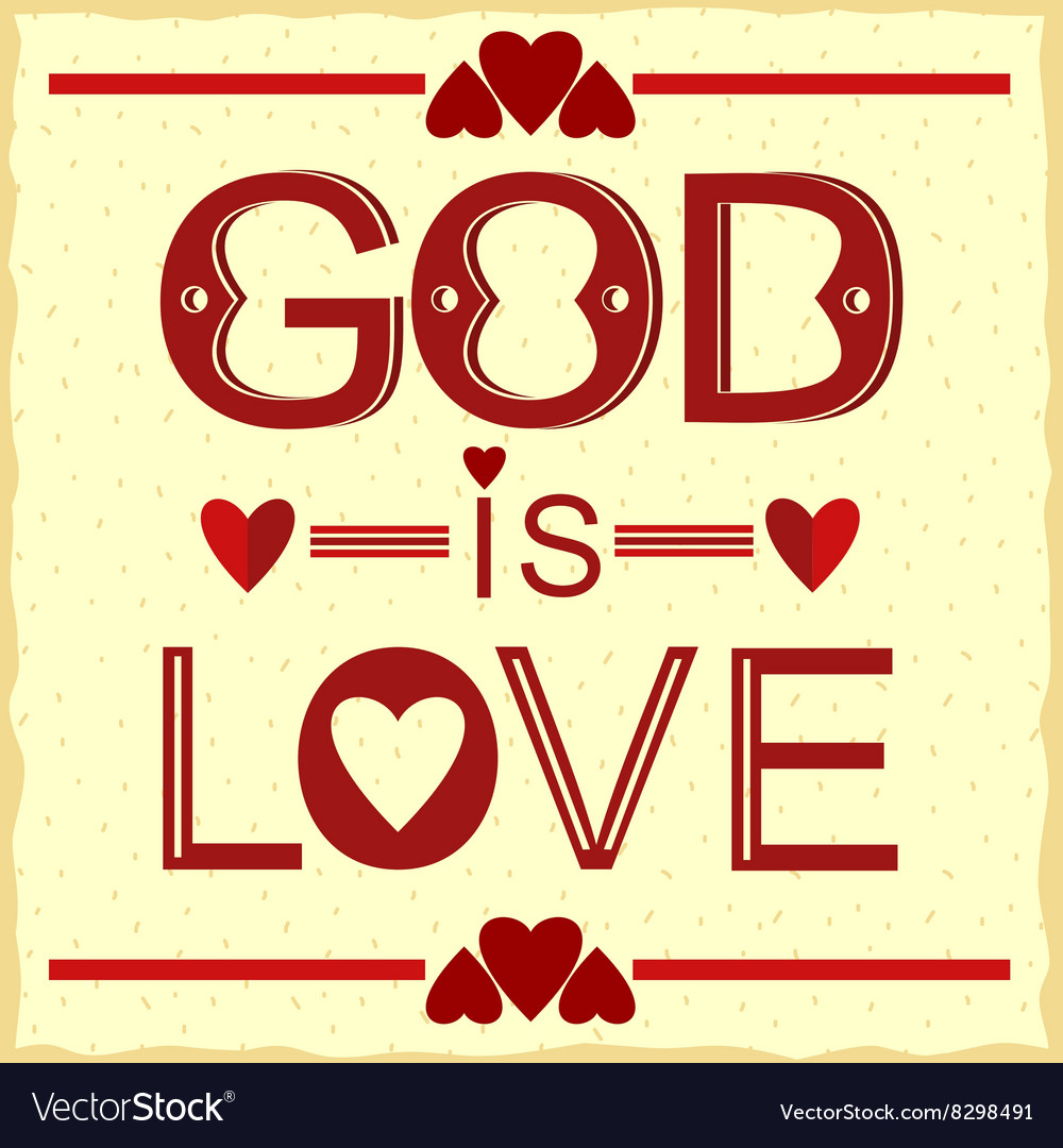 Bible verse God is love in red vector image